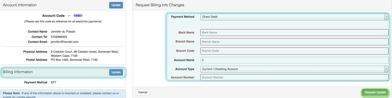 updating billing info