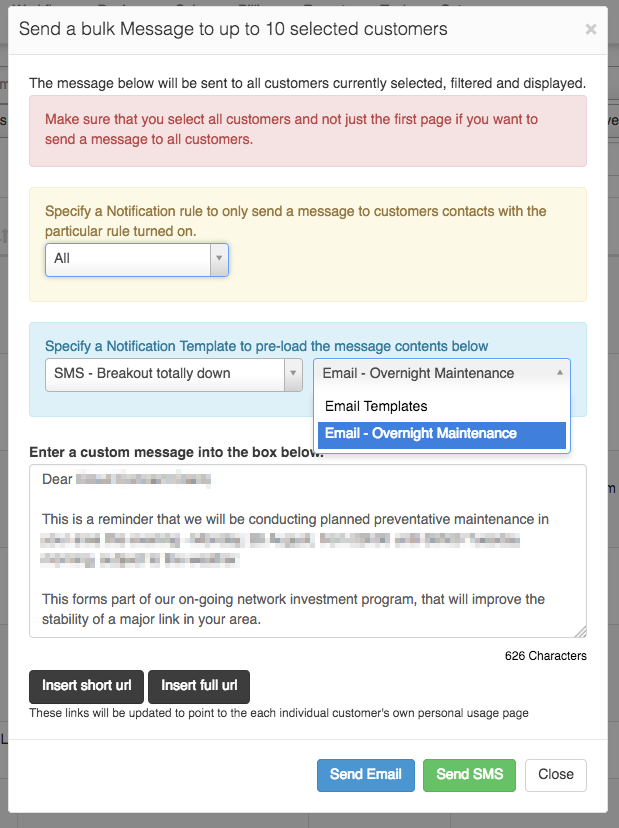 bulk message with notification template