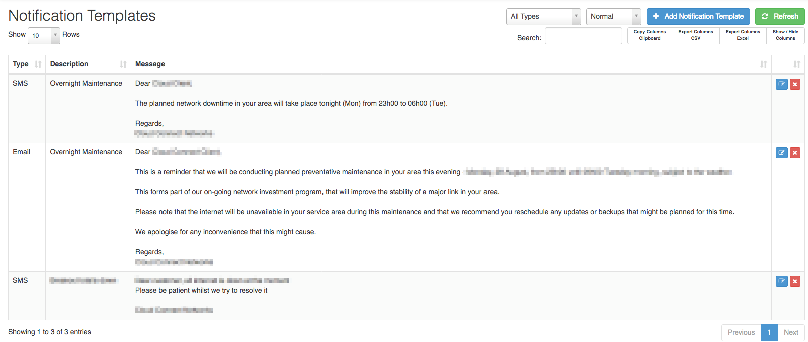 notification template screen