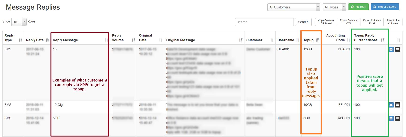 sms topup replies generate topups